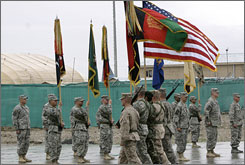 As the 82nd Airborne Division hands off to the 101st Airborne after 15 months in the country, U.S. troop levels have reached a record high since the U.S.-led invasion in 2001.