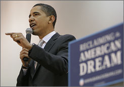 Democratic presidential hopeful Sen. Barack Obama D-Ill., speaks during a town hall meeting at Ball State University in Muncie, Ind.