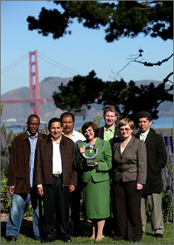 Recipients of the 2008 Goldman Environmental Prize pose outside the Goldman Foundation office in San Francisco April 11.