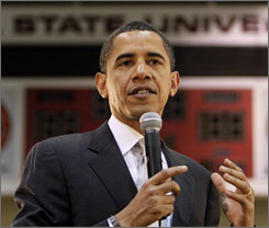 Democratic presidential hopeful Sen. Barack Obama D-Ill., speaks during a town hall meeting Saturday at Ball State University in Muncie, Ind.