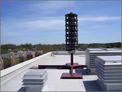 """A roof-mounted speaker installed at the University of New Hampshire last fall stands ready to shout out instructions during emergencies at the Durham campus. The maker of the system says it has seen """"a surge of interest"""" after the shootings at Virginia Tech and Northern Illinois University."""