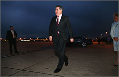 British Prime Minister Gorden Brown on Tuesday as he left Heathrow Airport in London for a three-day trip to the United States.