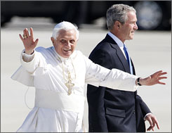 Pope Benedict XVI waves as he arrives at Andrews Air Force Base in Maryland. President Bush greeted the pontiff with first lady Laura Bush and their daughter Jenna.