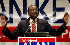 Alan Keyes speaks during a meeting in Hazelton, Pa. on Tuesday. He announced Tuesday that he has left the GOP and is considering joining the Constitution Party.