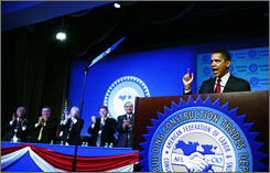 Democratic presidential candidate Sen. Barack Obama addresses the Building Trades And Legislative Conference Tuesday in Washington.