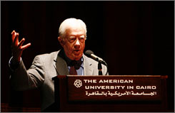 Former President Jimmy Carter delivers a speech Thursday at the American University in Cairo.