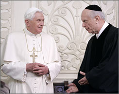 Rabbi Arthur Schneier sits down with the pope at a historic meeting in a New York synagogue.