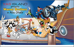 This image provided by Warner Bros. shows a copy of an ad that appeared in local language newspapers in the United Arab Emirates (UAE) promoting a new theme park.