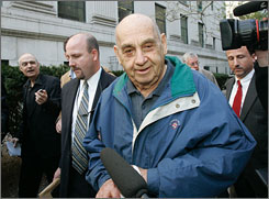 Accused spy Ben-Ami Kadish, 84, a former U.S. Army mechanical engineer, is escorted from federal court in New York on Tuesday.