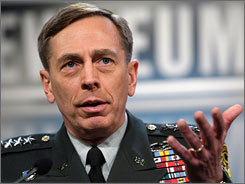 Gen. David Petraeus, shown here at a news conference this month, will be nominated by President Bush to head the command that oversees the Middle East and Central Asia.