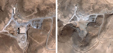 Satellite images show a suspected nuclear facility site in Syria before (left) and after a Sept. 6, 2007 Israeli airstrike. Today, U.S. intelligence officials will try to convince Congress that Syria was building the reactor with North Korean assistance before it was bombed in 2007.