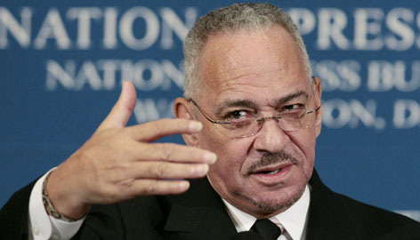 The Rev. Jeremiah A. Wright seen here Monday at the National Press Club in Washington, said criticism comes from people who only have heard sound bites looped on television and have never listened to his entire sermons.