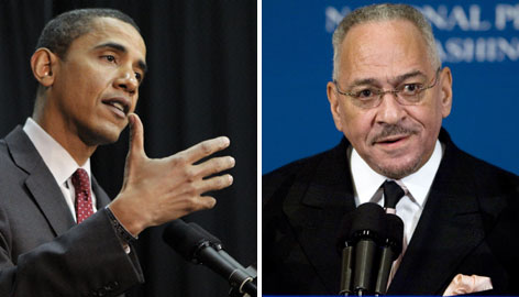"Democratic presidential hopeful, Barack Obama, left, on his former pastor Jeremiah Wright, right: """"I am outraged by the comments that were made and saddened by the spectacle that we saw yesterday."""