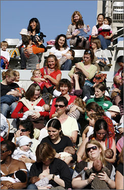 More than 100 mothers gathered in Paris' Stade Charlety last October to promote World Breastfeeding Day. In the U.S., about 77% of new moms breastfeed.