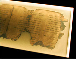 A portion of the Dead Sea Scrolls psalms that was on display at the Pacific Science Center in Seattle in 2006 and 2007. Israel will display Psalm 133 of the Dead Sea Scrolls during its 60th anniversary celebration next month.