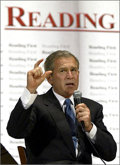 Bush discusses Reading First at the National Institute of Health. A new study found the scores of those in the program were virtually indistinguishable from other students'.