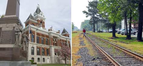 Whether it's Princeton, Ind., whose courthouse can be seen on the left, or Princeton, N.C., on the right, voters in Tuesday's Democratic primaries have the economy on their minds.