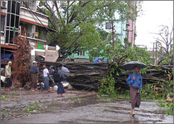 Residents look at a downed tree in the streets of Myanmar's largest city Rangoon after tropical cyclone Nargis tore through the country, battering buildings, sinking boats and causing unknown casualties.
