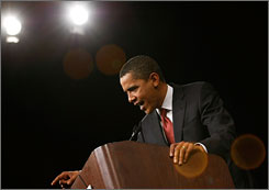Democratic presidential hopeful Barack Obama, the senator from Illinois, speaks at the 2008 Jefferson Jackson Day Dinner at the Indiana Convention Center in Indianapolis on Sunday.