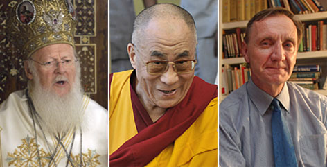 "From left, Bartholomew I, leader of the Eastern Orthodox Church, the Dalai Lama, leader of Tibetan Buddhism and Richard Cizik, an evangelical and environmentalist, were named in the annual ""Time 100."""