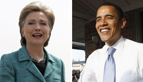 Presidential candidates Hillary Rodham Clinton, left, and Barack Obama, right, faced crucial primary votes in Indiana and North Carolina tonight. Clinton took a tight Ind. race, and Obama coasted to victory in N.C.