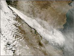 Volcanic ash and steam billows from the Chaiten Volcano in southern Chile on Saturday.