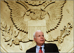 Presumptive Republican presidential nominee John McCain addresses a meeting of the National Rifle Assocaiton in Washington in September. The organization says McCain will address its annual meeting in Louisville next week.