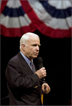Republican presidential candidate John McCain's, seen here speaking Monday in Charlotte, discussed judges today at Wake Forest University in Winston-Salem, N.C.