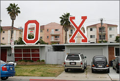 A view on Tuesday of the Theta Chi fraternity house at San Diego State University, one of nine locations served with drug warrants in relation to an undercover investigation of a college drug ring.