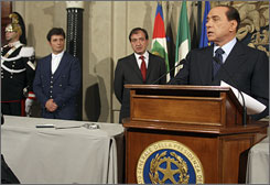 Silvio Berlusconi, seen here in Rome on Wednesday beginning his third stint as Italian premier, formed Italy's 62nd postwar government on Wednesday.