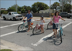 Members of the Berry family  including Mike Berry and his family wife Lori and daughters Katie, 16, and Kendall, 8  use bicycles exclusively to run errands in the vicinity of their Atlantic Beach home.