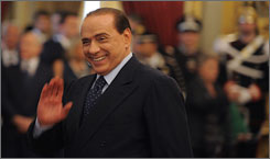 Italy's new Prime Minister Silvio Berlusconi attends his swearing-in ceremony at Quirinale palace in Rome. Berlusconi took office as prime minister for a third time in his political career on Thursday, after forming one of Italy's most right-wing cabinets since World War II.