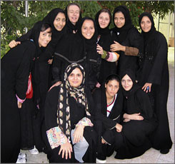 Members and fans of the all-women Jeddah United basketball team gather in front of a basketball court at the First Women's Welfare Society in Jiddah, Saudi Arabia, April 30.