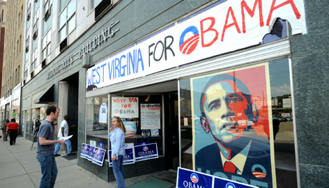 Sen. Barack Obama's Democratic campaign headquarters in downtown Charleston, W.Va., include a hand-drawn banner and a sizable Obama poster.