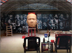 A part of Lei Yixin's sculpture of Martin Luther King Jr. stands in his Changsha, China studio.