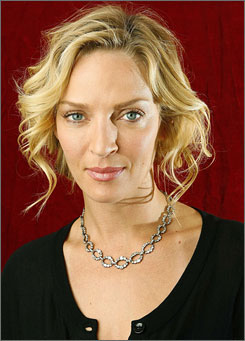 Uma Thurman, seen here in April, sued Lancome Friday, seeking $15 million from the French cosmetics company, accusing it of using her name and face in advertisements after her contract had expired.