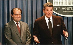 President Reagan announces the Supreme Court nomination of Antonin Scalia in 1986. Reagan, who sought out conservative jurists, previously appointed Scalia to an appeals court.