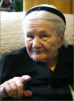 Holocaust hero Irena Sendler, shown here in February, was credited with saving 2,500 Jewish children from the Nazis over the course of three years in Poland. She died Monday morning at age 98.
