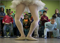 Whitney Edwards of the Nashville Ballet demonstrates dance moves for children at Centerstone's Therapeutic preschool, a program for children with behavioral and emotional difficulties in Nashville Of U.S. 4-year-olds, 40% are in a public program, such as state pre-kindergarten, Head Start or special education.