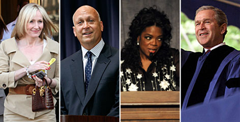 From left: Harry Potter author J.K. Rowling, baseball star Cal Ripken Jr., TV mogul Oprah Winfrey and President Bush will all impart their wisdom to graduates this year.