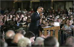 Democratic presidential hopeful Sen. Barack Obama (D-Ill.) speaks at a town hall meeting in Watertown, S.D., on Friday.