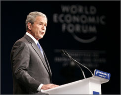 President Bush speaks at the World Economic Forum on the Middle East on Sunday in Sharm El-Sheikh, Egypt.