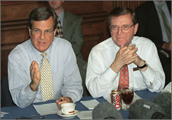 Five current or former members of Congress, including former senator Trent Lott of Mississippi, left, have closed down their PACs. Others, including Sen. Pete Domenici of New Mexico, right, have sharply curtailed their fundraising activity. 