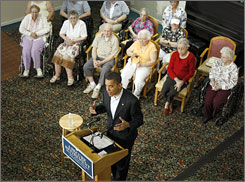 Democratic presidential hopeful, Sen. Barack Obama, D-Ill., speaks to seniors at Huntinton Terrace, a senior center in Gresham, Ore.