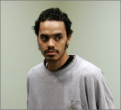 Vincent Smothers, 27, attends his arraignment in  district court in Detroit on April 21.