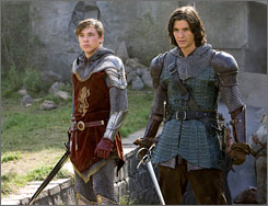 "William Moseley, left, and Ben Barnes in a scene from The Chronicles of Narnia Prince Caspian. ""Aslan represents God,"" says Moseley. ""People say, 'If God's there, why can't I see him?' Well, because you're not believing."""