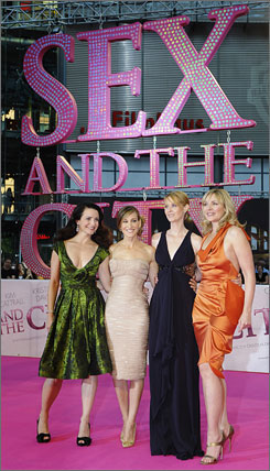 Sex and the City stars Kristin Davis, Sarah Jessica Parker, Cynthia Nixon and Kim Cattrall enjoy the spotlight at the film's Berlin premiere May 15.