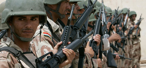 These Iraqi soldiers received new rifles from U.S. forces earlier this month, in Taji U.S. military camp near Baghdad.