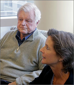 Sen. Edward M. Kennedy sits with daughter Kara in a family room at the Massachusetts General Hospital in Boston, Tuesday. Doctors say Kennedy, who was diagnosed with a brain tumor recently, will remain in the hospital for the next couple of days as they consider chemotherapy and radiation.