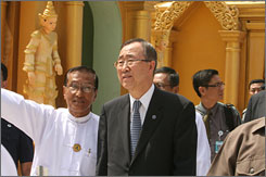 U.N. Secretary General Ban Ki-moon hoped to persuade the Burma's ruling generals to let in more foreign assistance for cyclone victims.